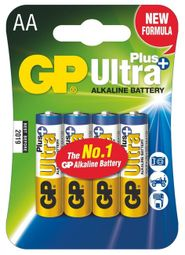 GP alkalická baterie AA (LR6) Ultra Plus 4ks blistr (3+1ks) 1017214005
