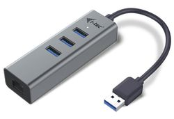 I-TEC USB 3.0 HUB METAL/ 3 porty/ USB 3.0 na Gigabit Ethernet adaptér (RJ45)/ šedý