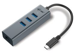 I-TEC USB HUB METAL/ 3 porty/ USB 3.0/ USB 3.1 Type C na Gigabit Ethernet (RJ45)